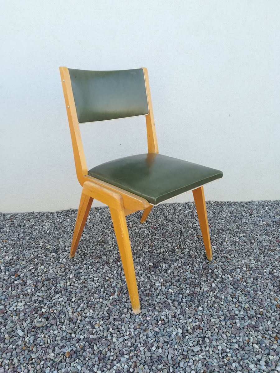Wunderbar Stuhl Holz Sammlung Von Französischer Aus Hellem & Grünem Skai, 1950er