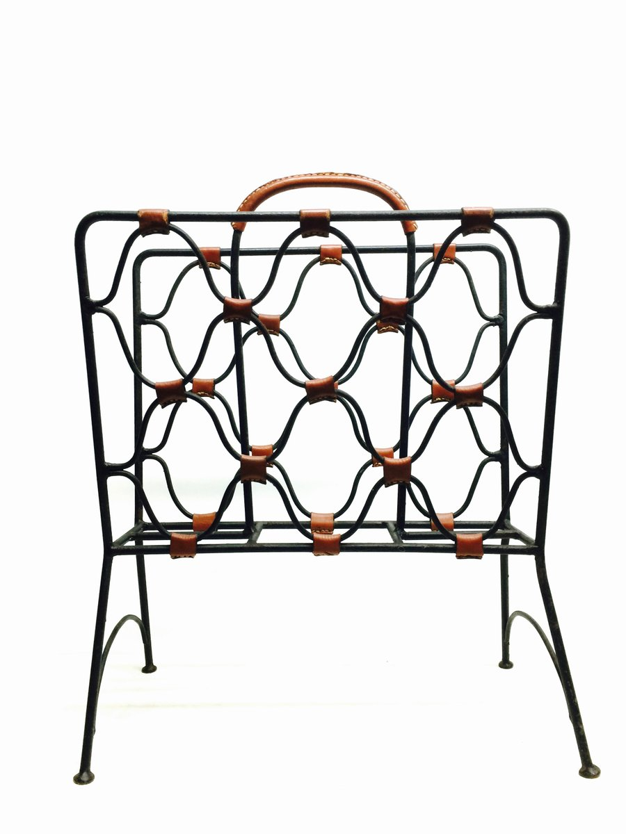 magazine rack from jacques adnet 1950s for sale at pamono Stream Line Day magazine rack from jacques adnet 1950s