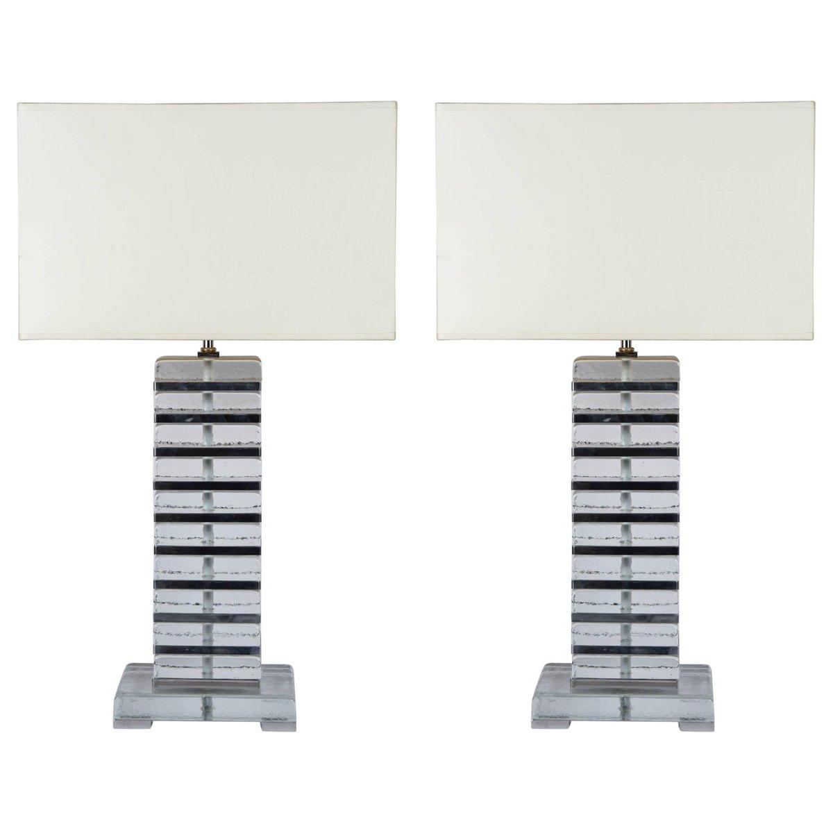 Tischlampen aus Murano Glas mit verchromtem Metalldetails, 1980er, 2er...