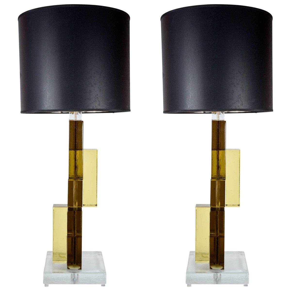 Vintage Tischlampe mit Füßen aus Murano Glas, 2er Set