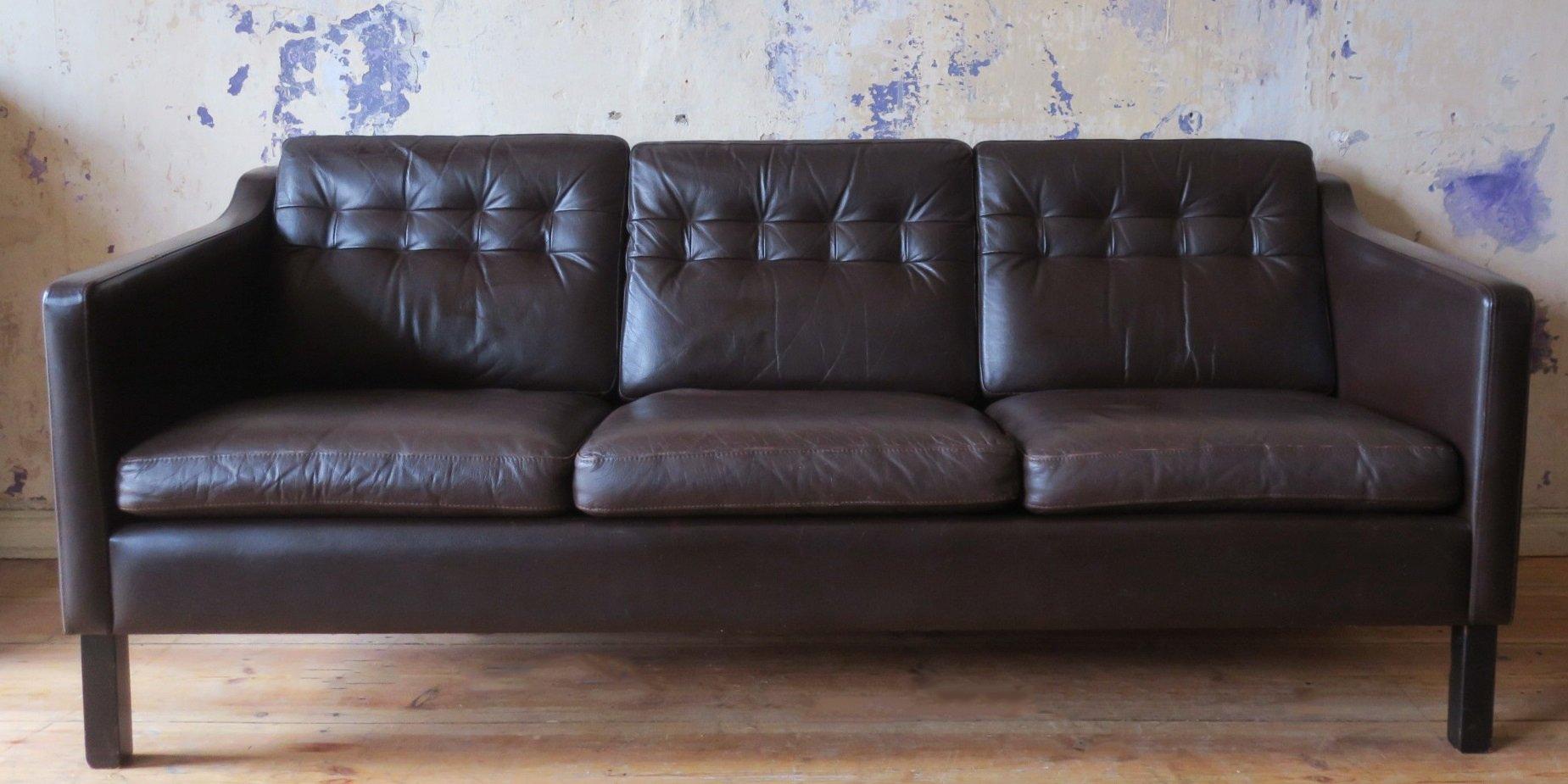 Dänisches Mid-Century 3-Sitzer Sofa in dunkelbraunem Leder