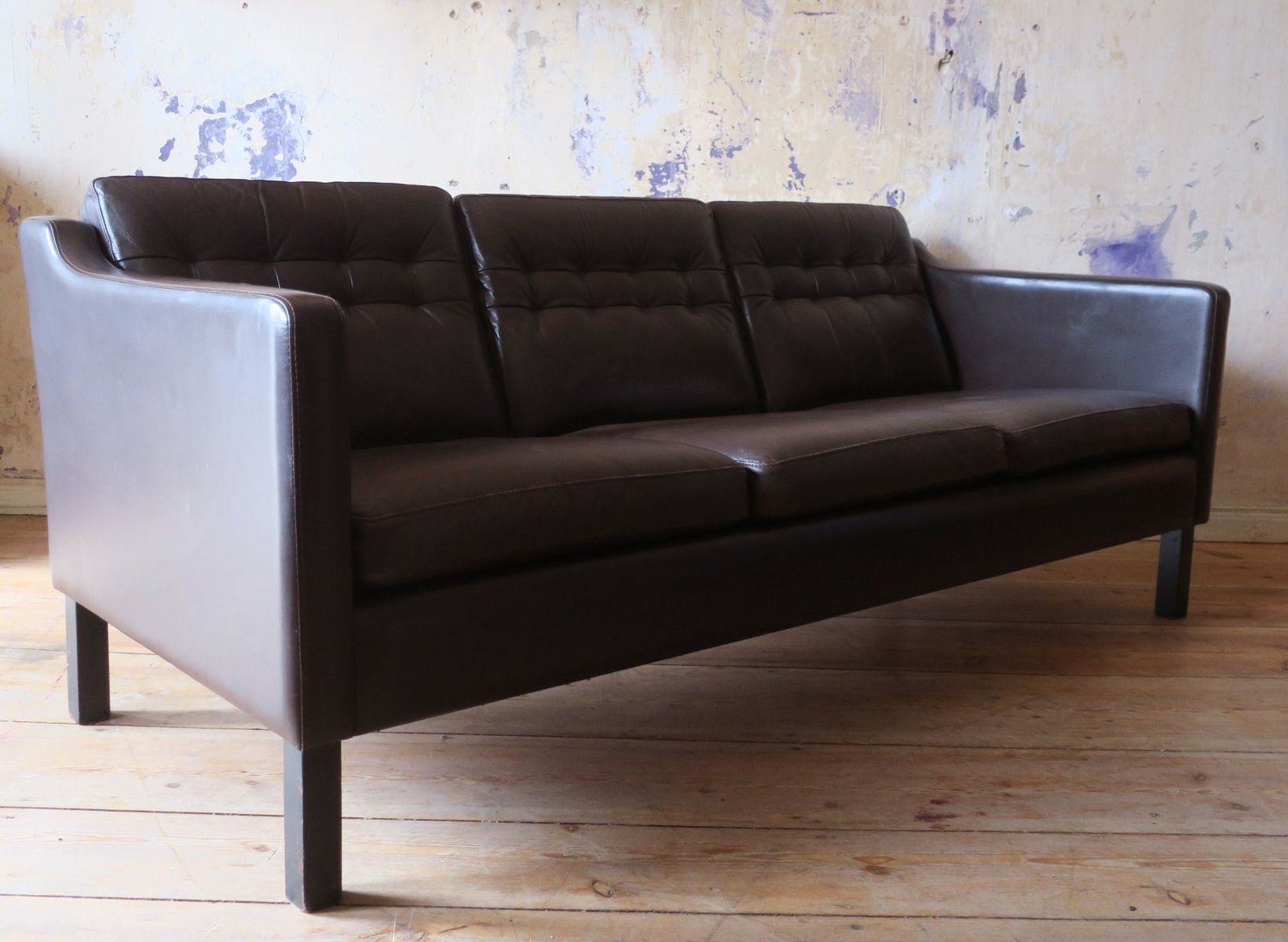 Mid Century Danish 3 Seater Sofa In Dark Brown Leather