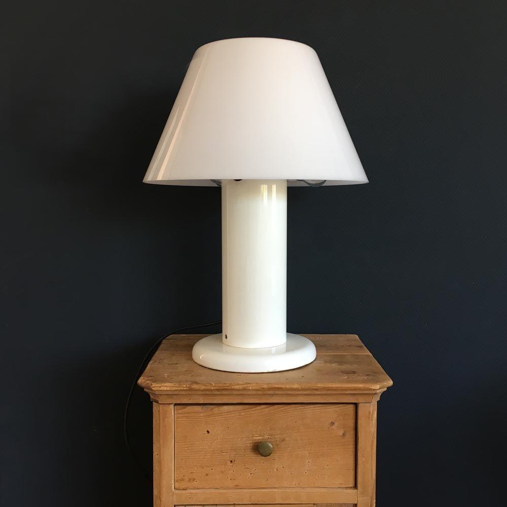 Vintage Tischlampe in weißem Acryl