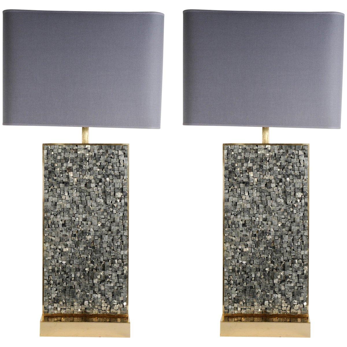 Vintage Pyrite Lampen von Georges Mathias, 2er Set