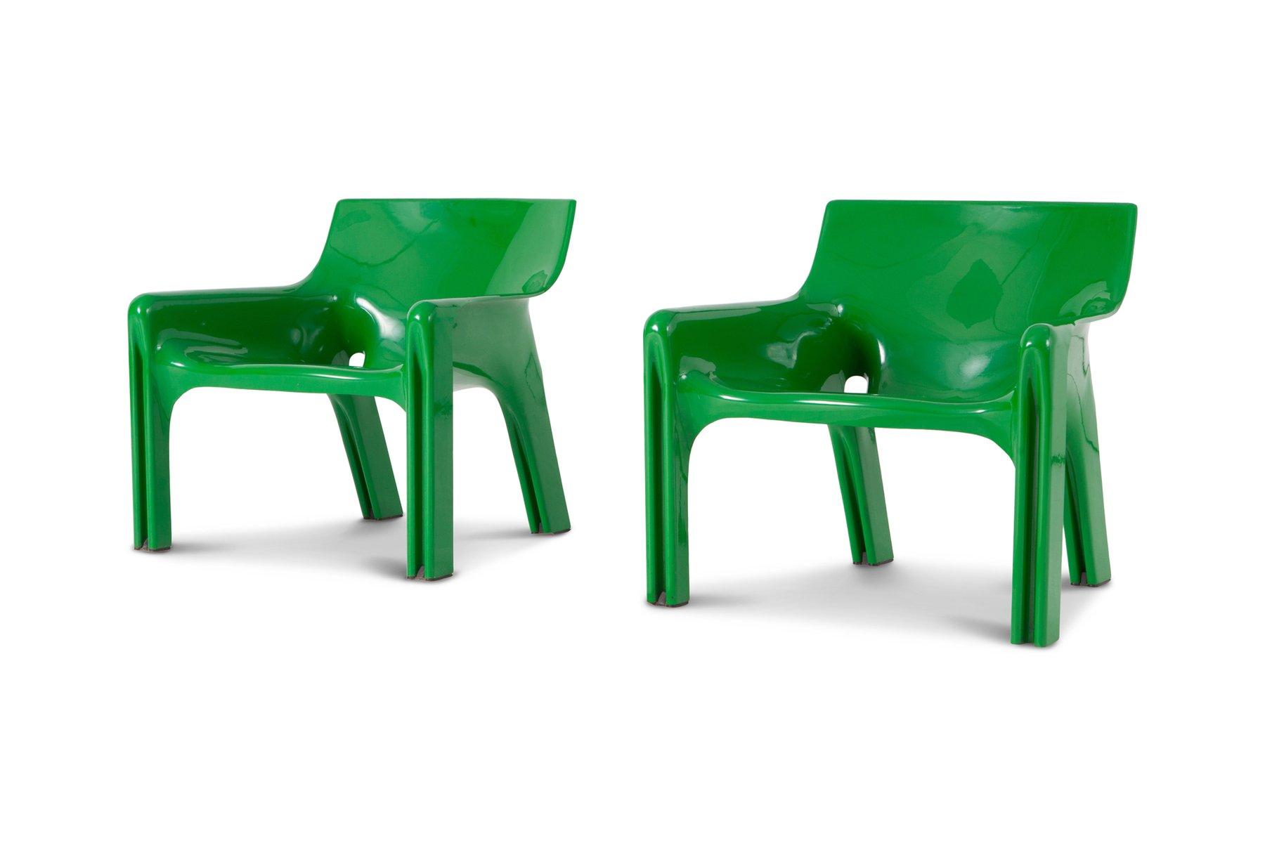 Grüne Vicario Sessel von Vico Magistretti für Artemide, 1970er, 2er Se...