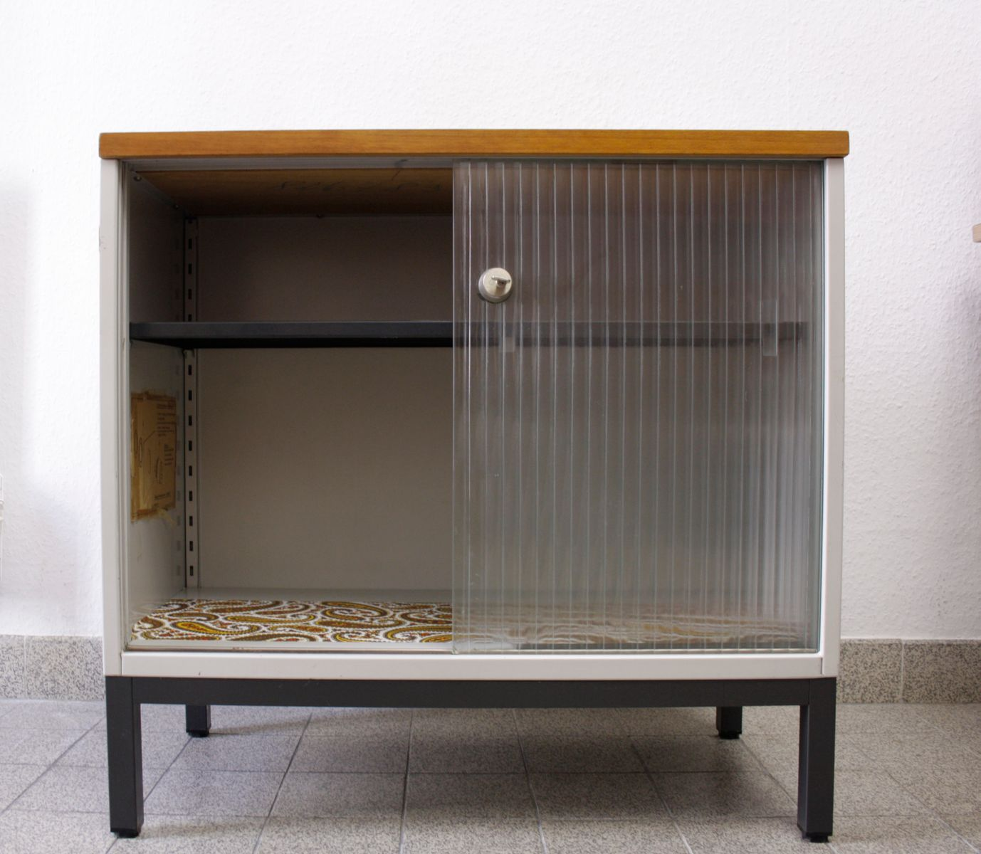Vintage Metal Cabinet With Sliding Glass Doors From Mauser Werke