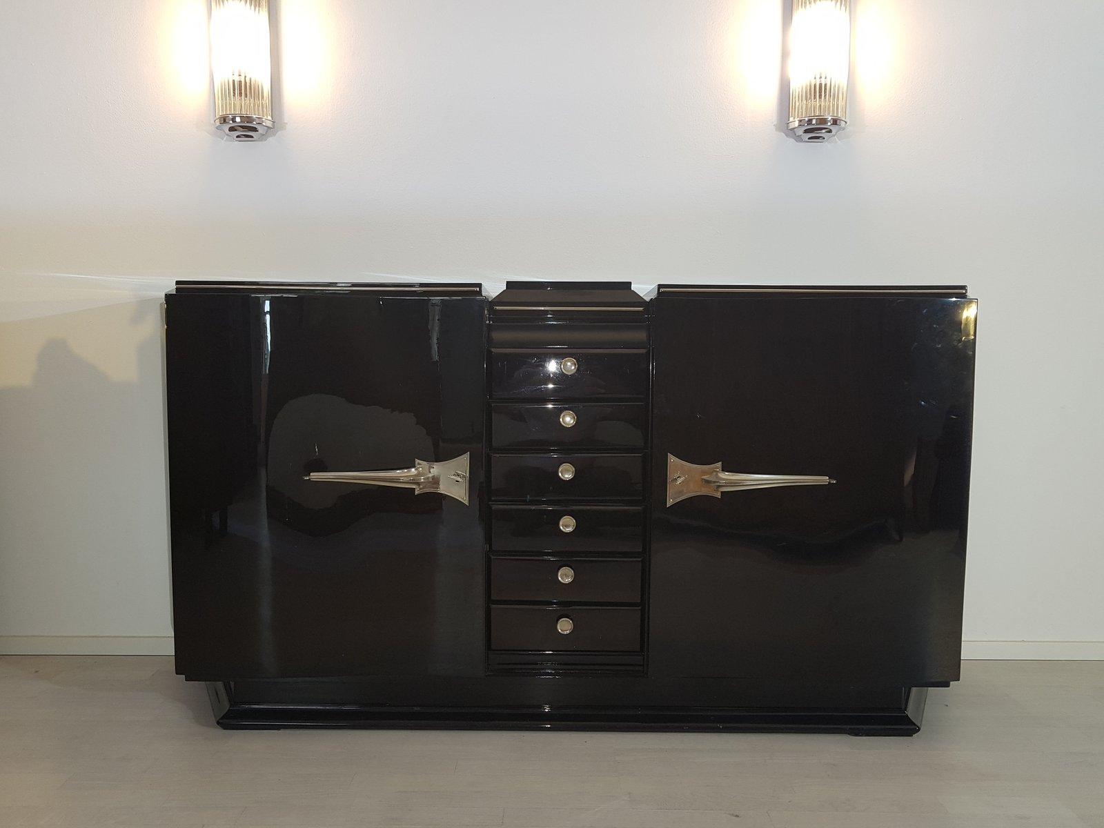 Schwarzes Art Deco Sideboard mit Serpentintüren, 1920er