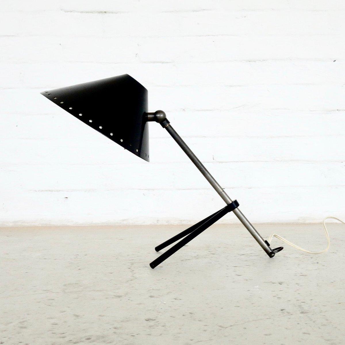 Schwarze Mid-Century Pinocchio Schreibtisch- oder Wandlampe von H.Th.J...