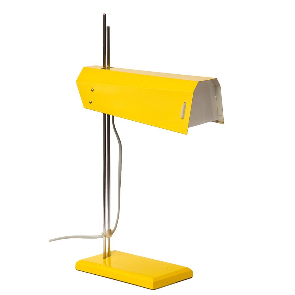 Yellow table lamp by josef hurka for lidokov 1970s
