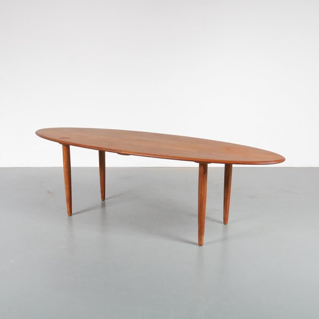 Scandinavian Oval Teak Coffee Table 1950s
