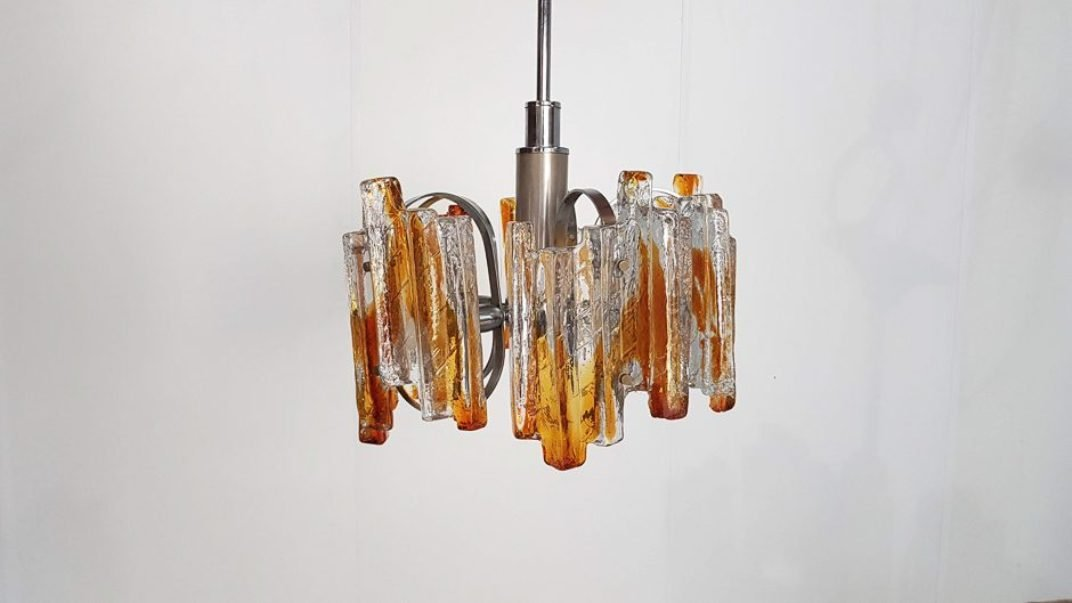 Schwerer italienischer Murano Glas Kronleuchter von Carlo Nason für Ma...