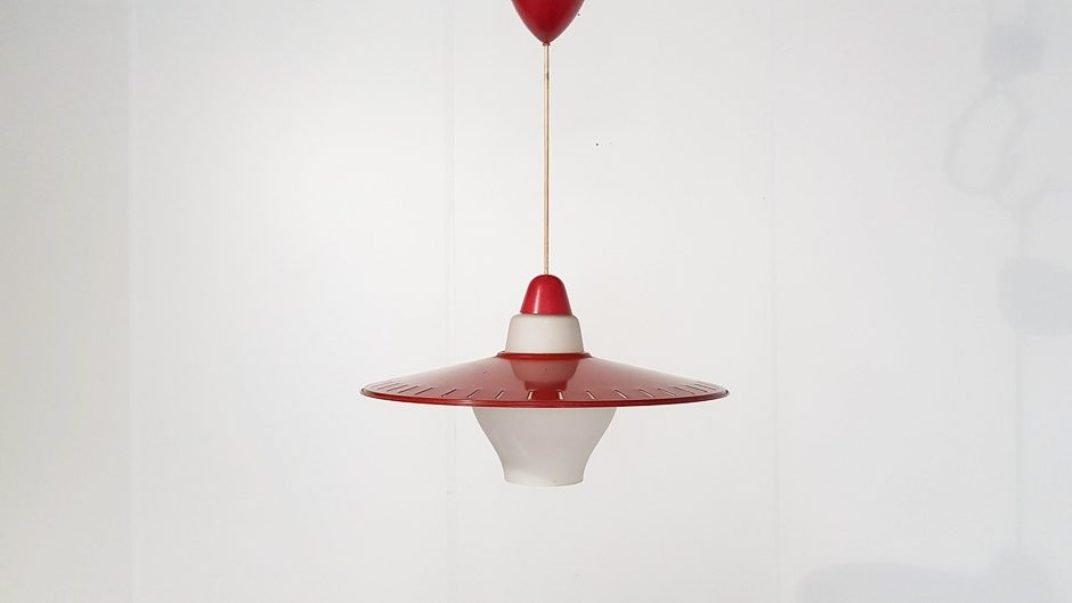 Hängelampe aus Metall & Glas von Louis Kalff für Philips, 1950er