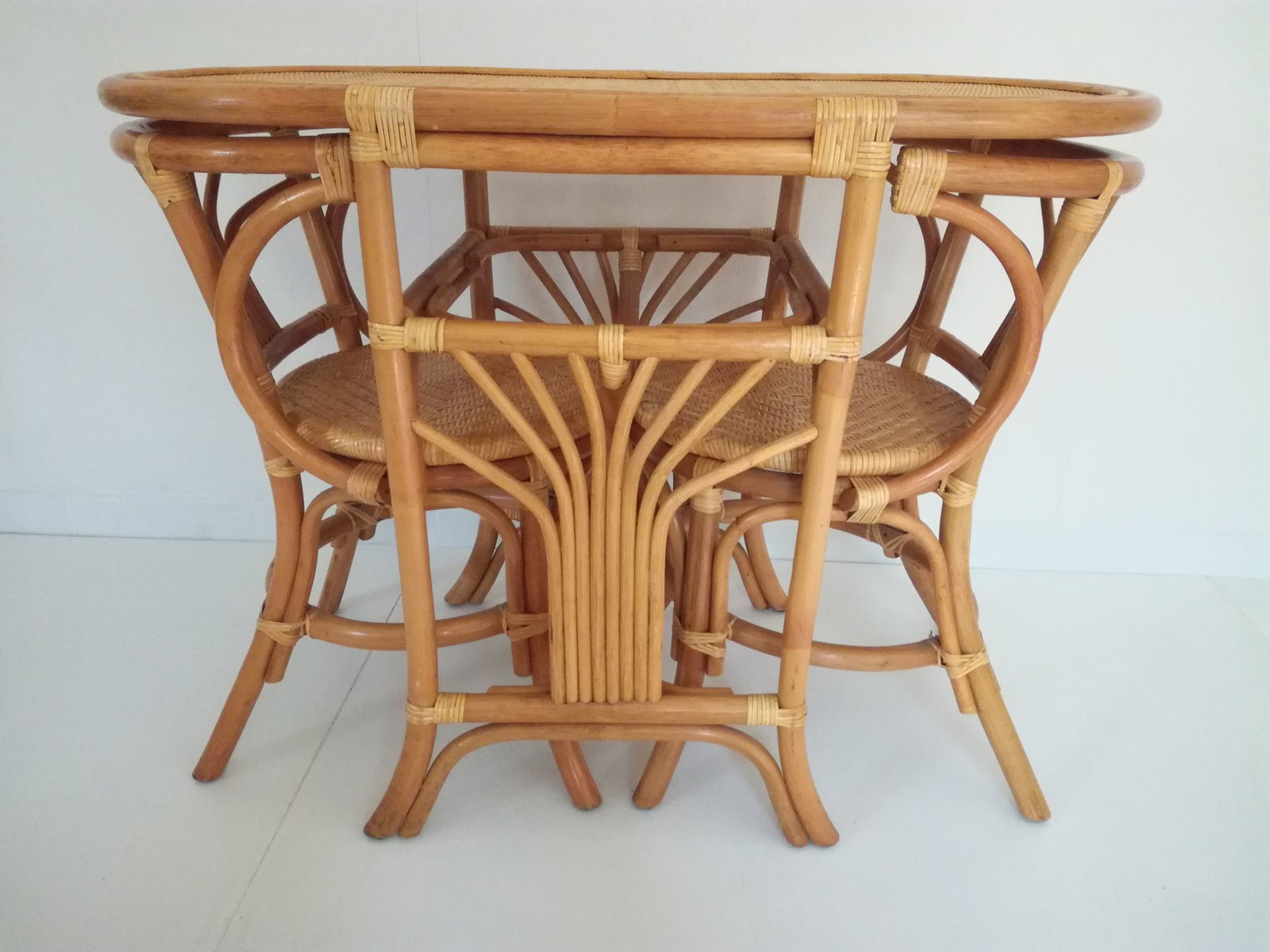Vintage Rattan Tête A Tête Table U0026 2 Chairs