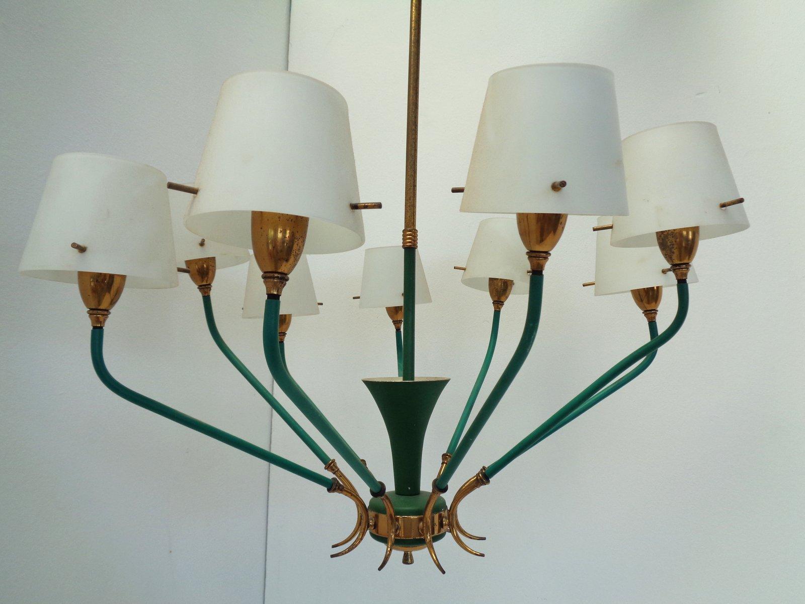 Entzückend Messing Deckenlampe Das Beste Von Italienische 9-lampen Aus & Opalglas, 1950er