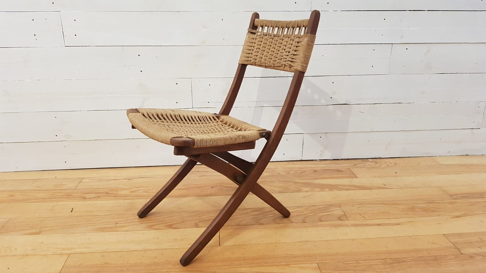 Enjoyable Mid Century Danish Teak Rope Folding Chairs 1960S Set Of 2 Ocoug Best Dining Table And Chair Ideas Images Ocougorg