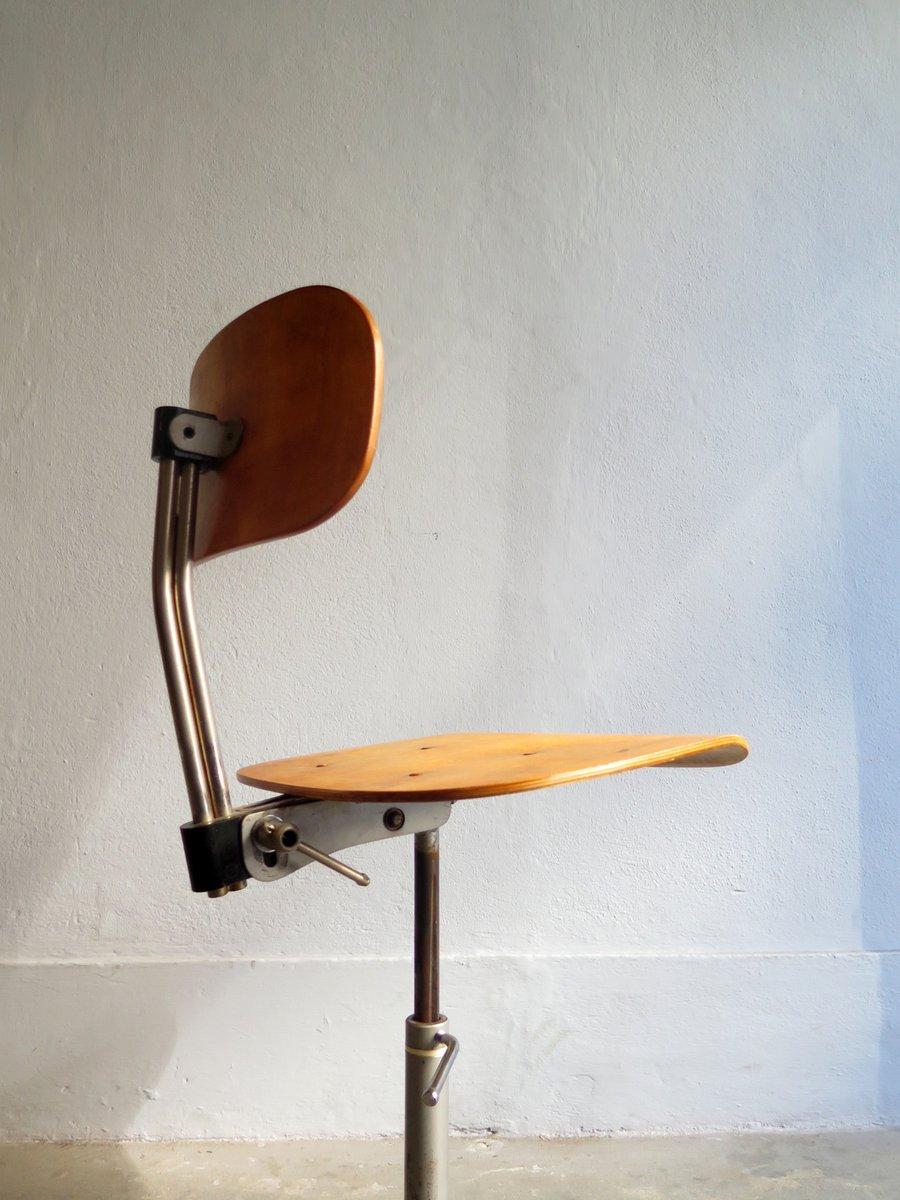 Chaise Vintage Industrielle En Chene Plaque Avec Pied Metal
