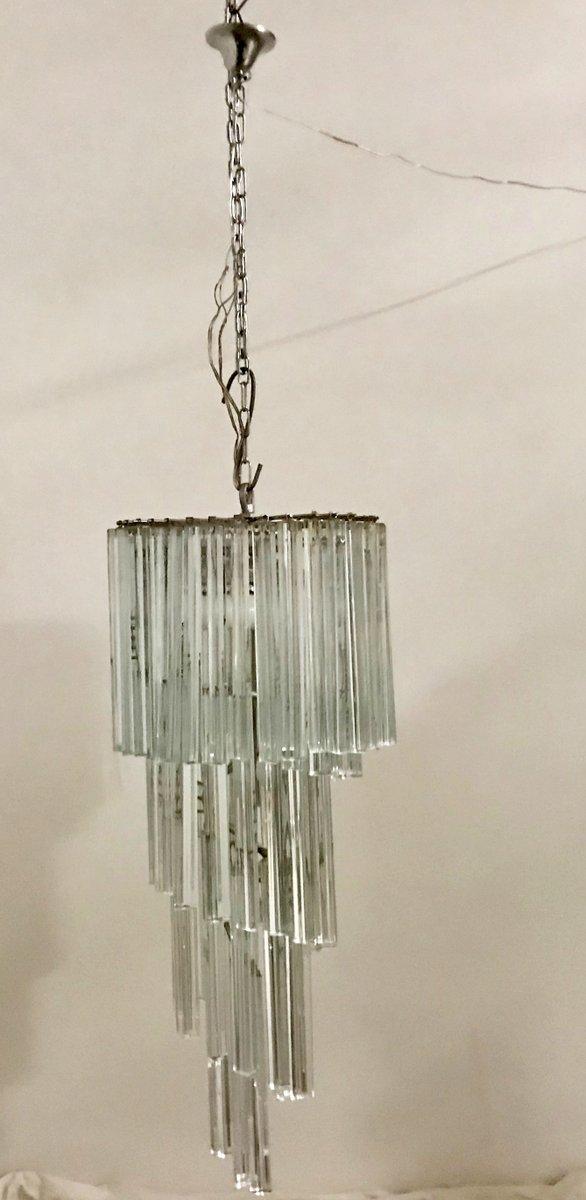 Mid-Century Kristallglas-Kronleuchter von Venini