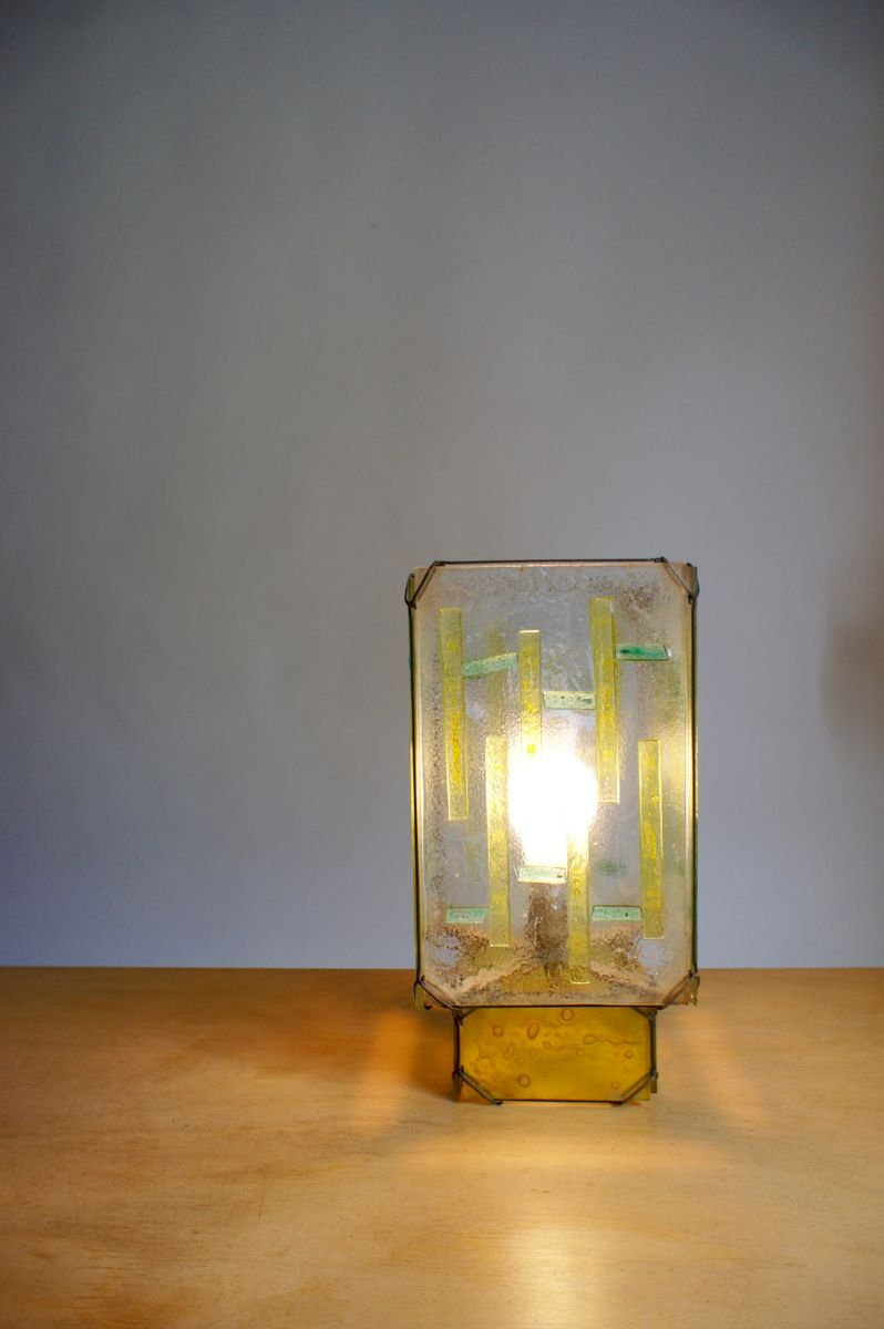 Stained glass table lamp 1960s