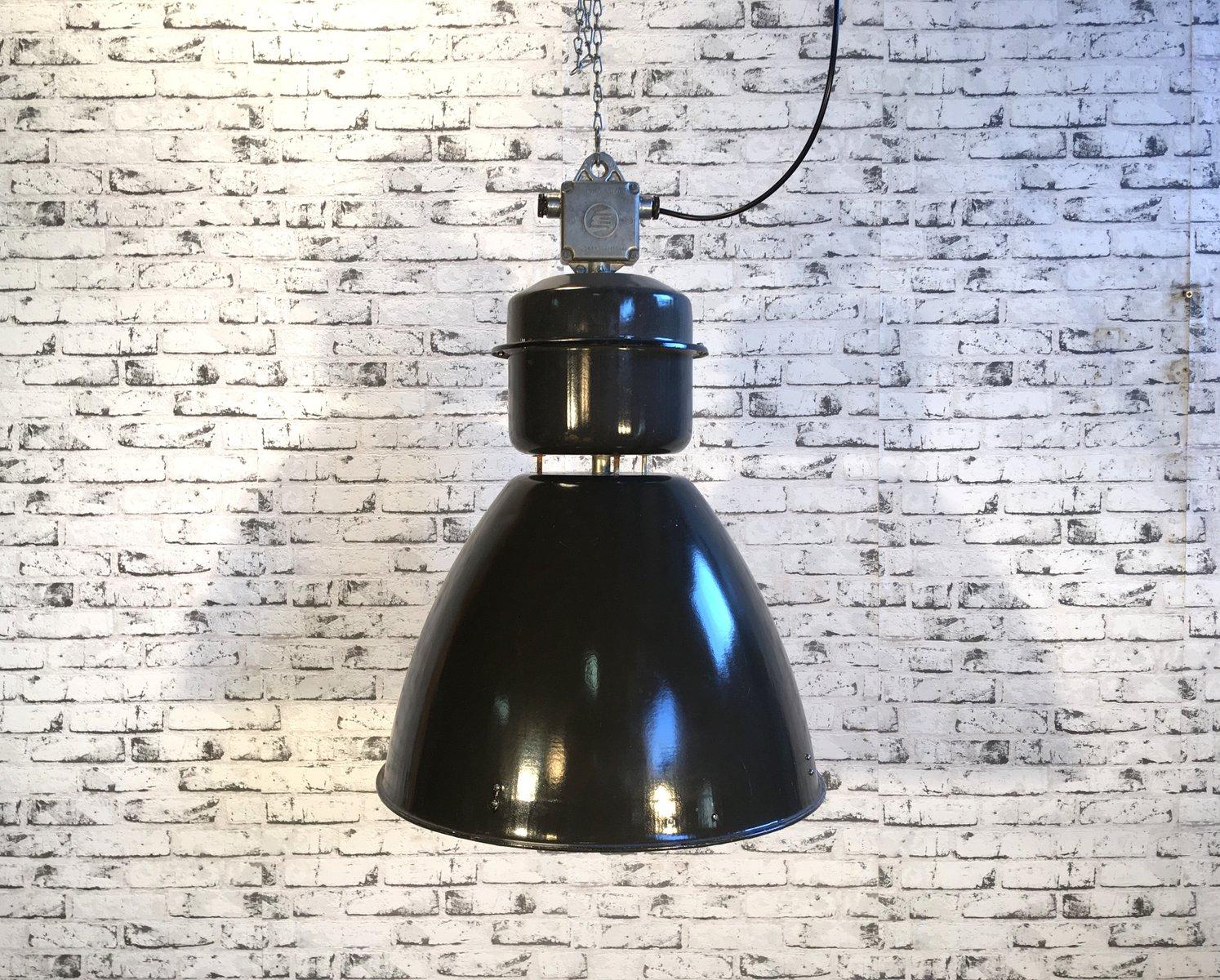 Große industrielle Fabriklampe aus schwarzer Emaille von Elektrosvit, ...