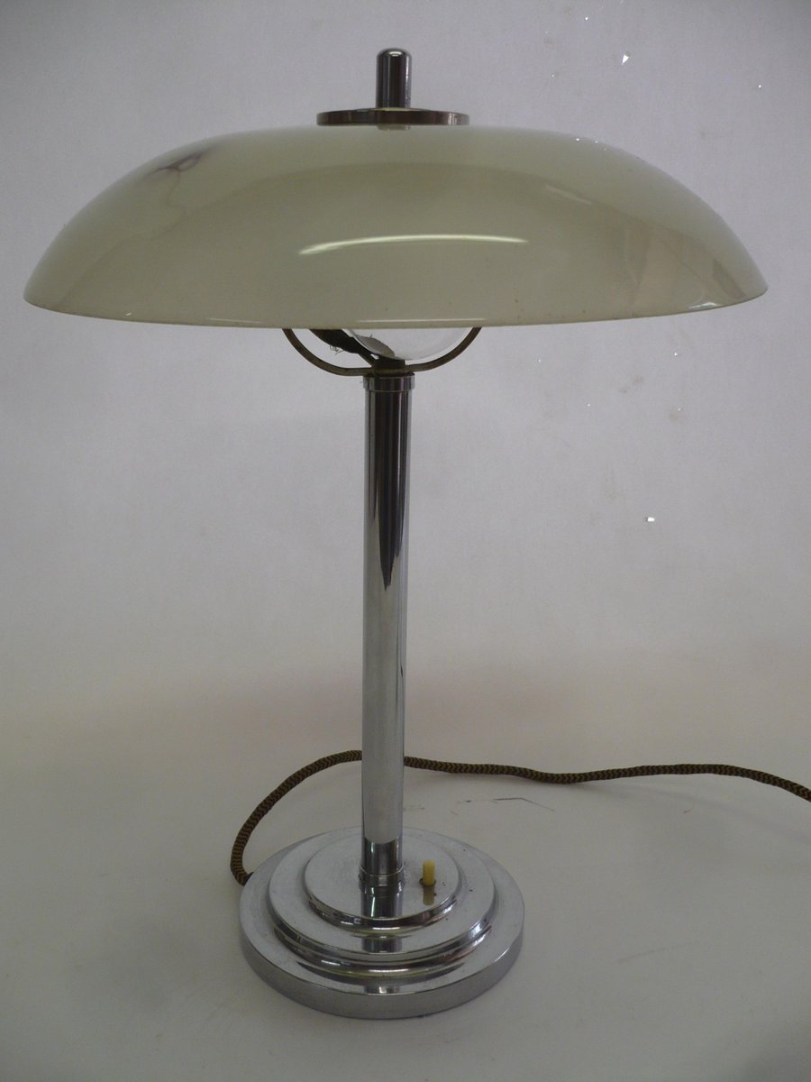 Art Deco Chromed Metal Milk Glass Table Lamp 1920s For Sale At Pamono