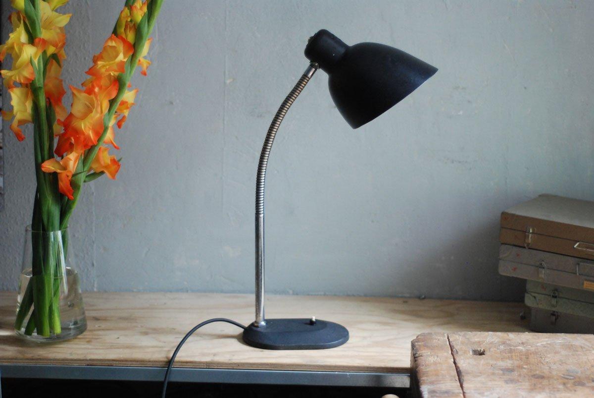 Schwarze Vintage Schreibtischlampe mit Schwanenhals von Nolta Lux