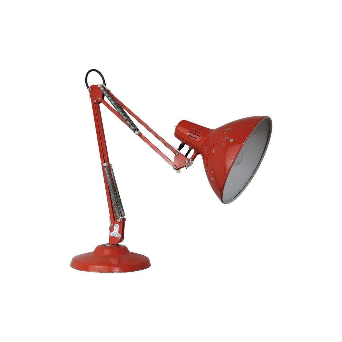Rote Vintage Gelenk-Schreibtischlampe von 1001 Lamps London, 1960er