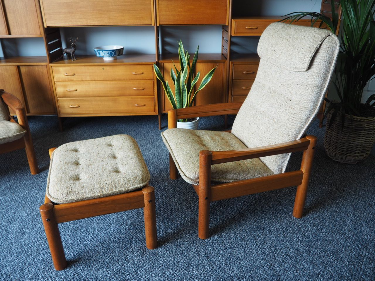 Danish Modern Teak Chair Ottoman With Beige Upholstery From Domino Mobler 1980s