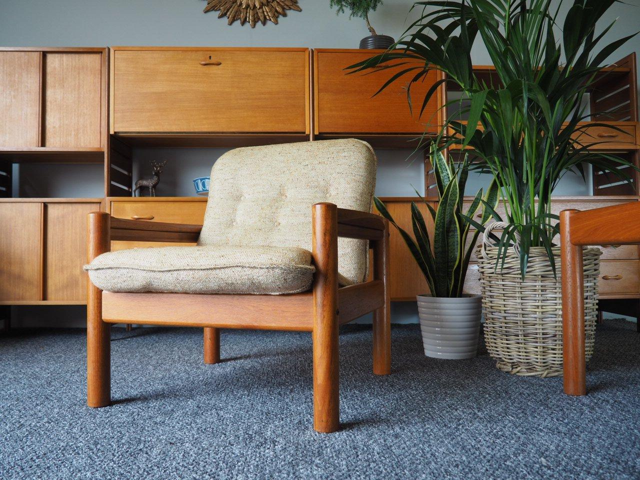 Kleiner dänischer Teakstuhl in Beige von Domino Mobler