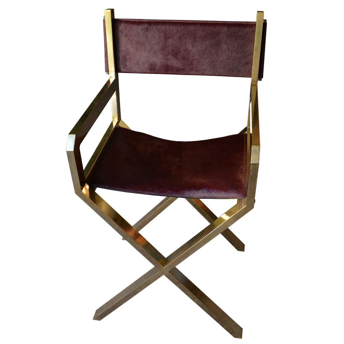French Brass U0026 Purple Calf Leather Directoru0027s Chair, 1970s