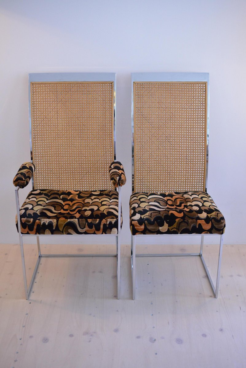 Rattan Back Dining Chairs With Fabric Upholstery By Milo Baughman For Thayer Coggin 1975 Set Of 2