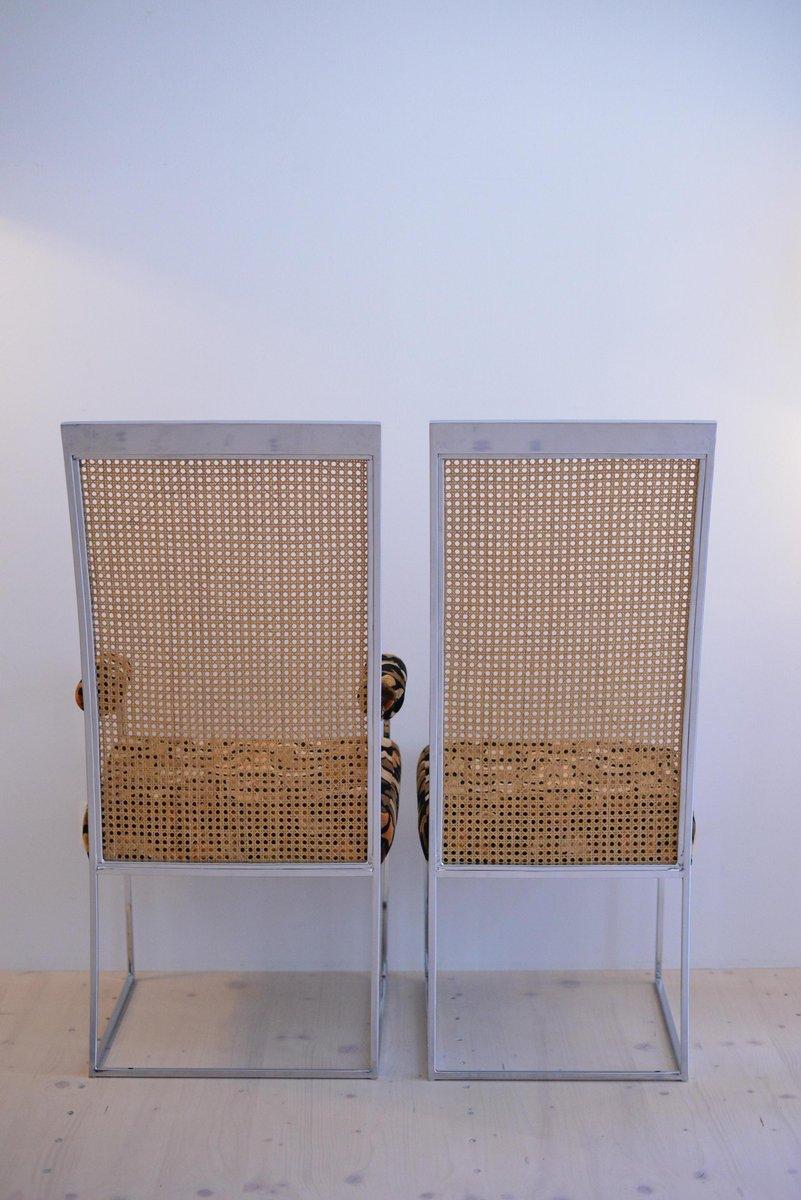 esszimmerst hle mit rattan r ckenlehnen stoffbezug von milo baughman f r thayer coggin 1975. Black Bedroom Furniture Sets. Home Design Ideas