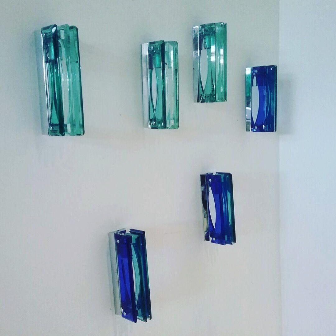 Wandleuchten aus Glas von Veca, 1970er, 6er Set