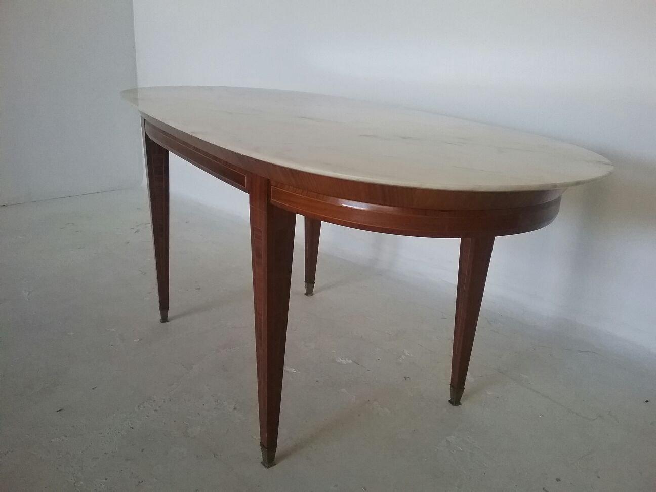 Tavolo da pranzo impero in legno e marmo inizio xx secolo in