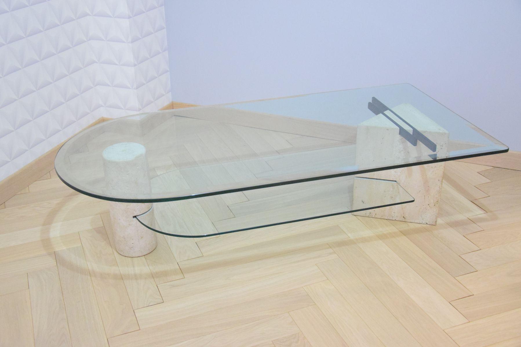 table basse vintage en verre travertin de roche bobois