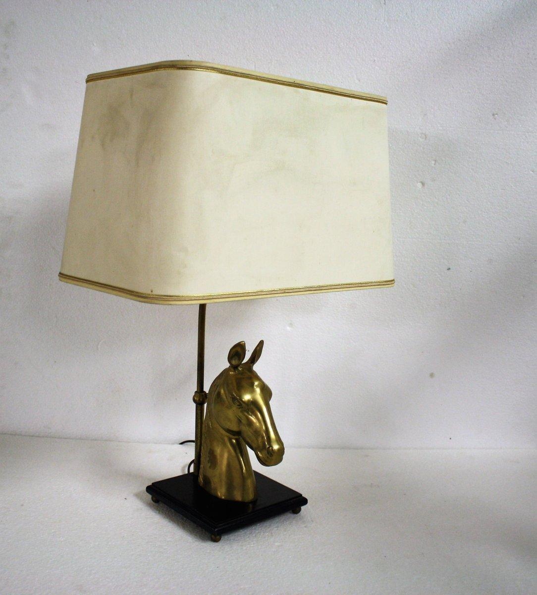 Pferdekopf Tischlampe aus Messing, 1970er