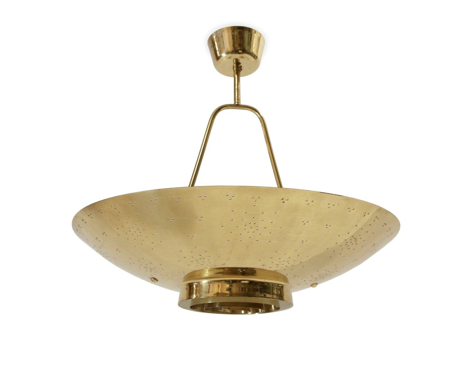 UN Deckenlampe aus Messing von Paavo Tynell für Taito, 1950er