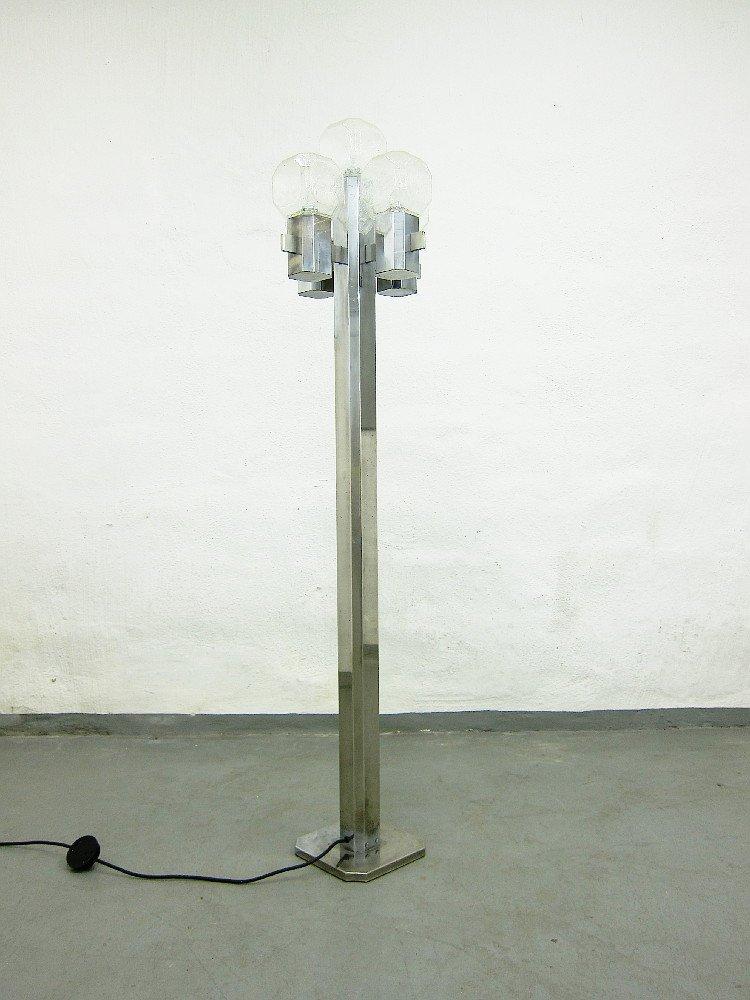 Stehlampe aus Glas & verchromtem Metall
