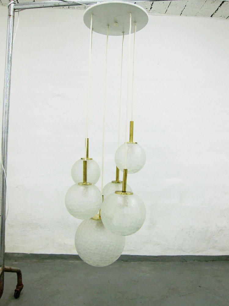 Kaskaden-Lampe aus Glas & Messing von Doria, 1960er