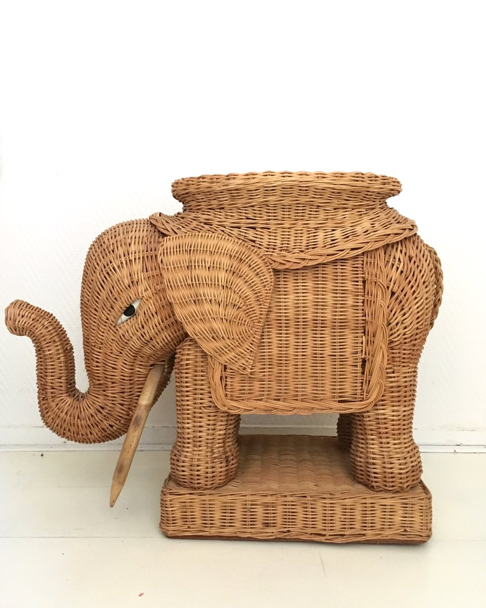 Braided Wicker Elephant Side Table, 1960s for sale at Pamono