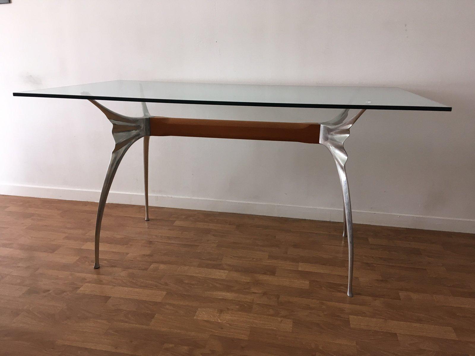 Bureau en aluminium poli avec poutre en hêtre par bernard dequet