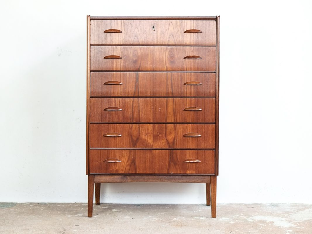 d nische kommode mit 6 schubladen in teak 1960er bei pamono kaufen. Black Bedroom Furniture Sets. Home Design Ideas