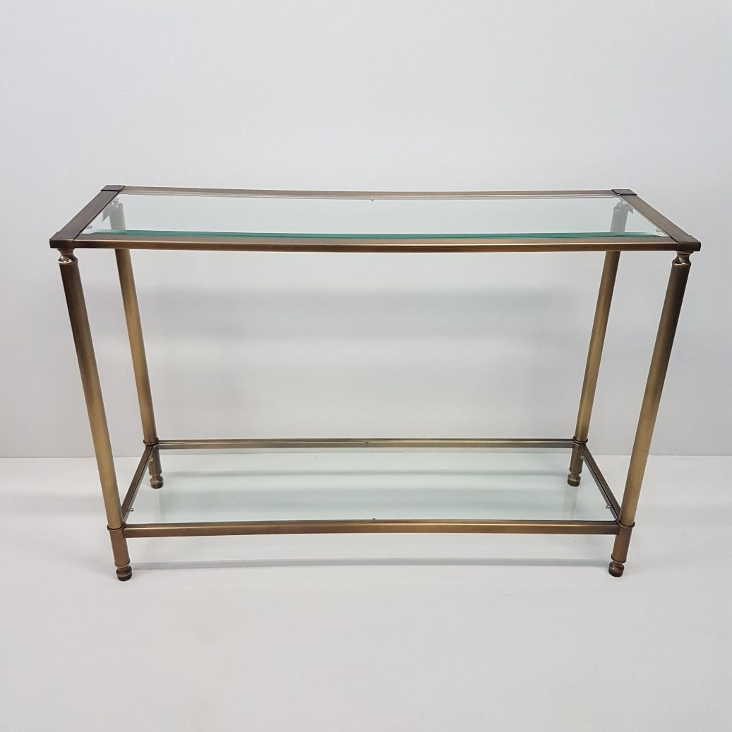 Brass glass console table 1980s