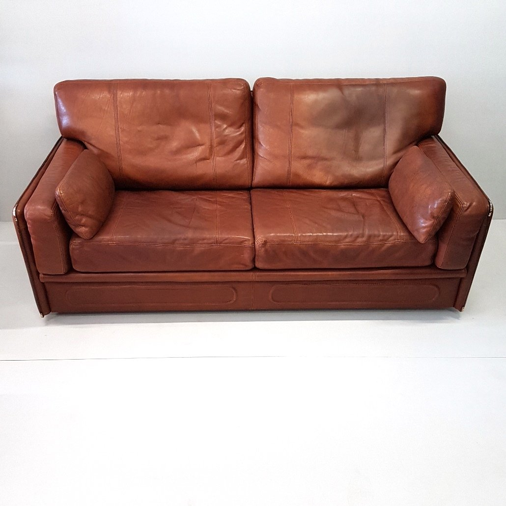 Italian Leather Furniture South Africa: Cognac Leather Miami Sofa From Baxter, 1993 For Sale At Pamono