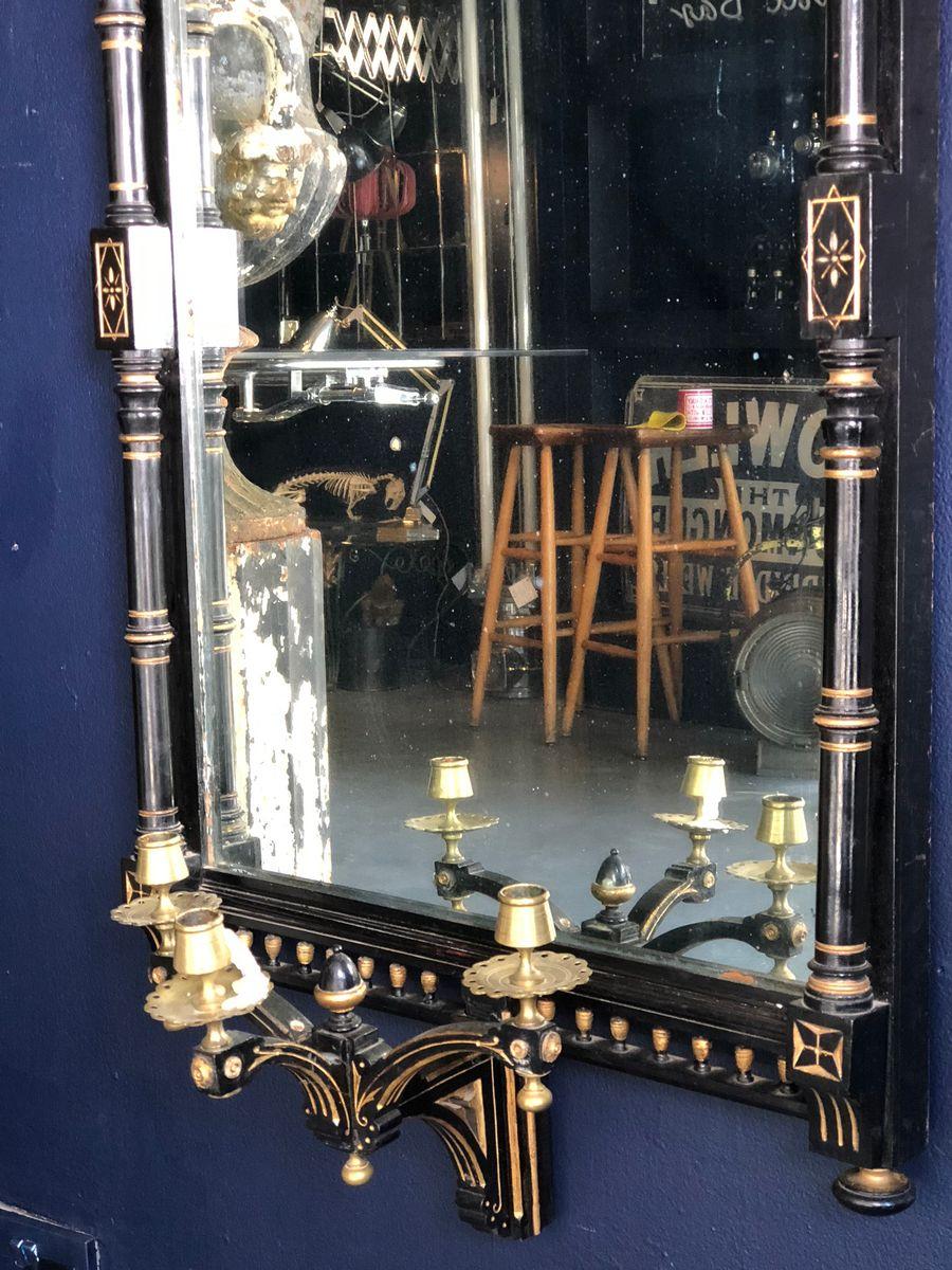 antiker ebonisierter und vergoldeter spiegel mit leuchten bei pamono kaufen. Black Bedroom Furniture Sets. Home Design Ideas