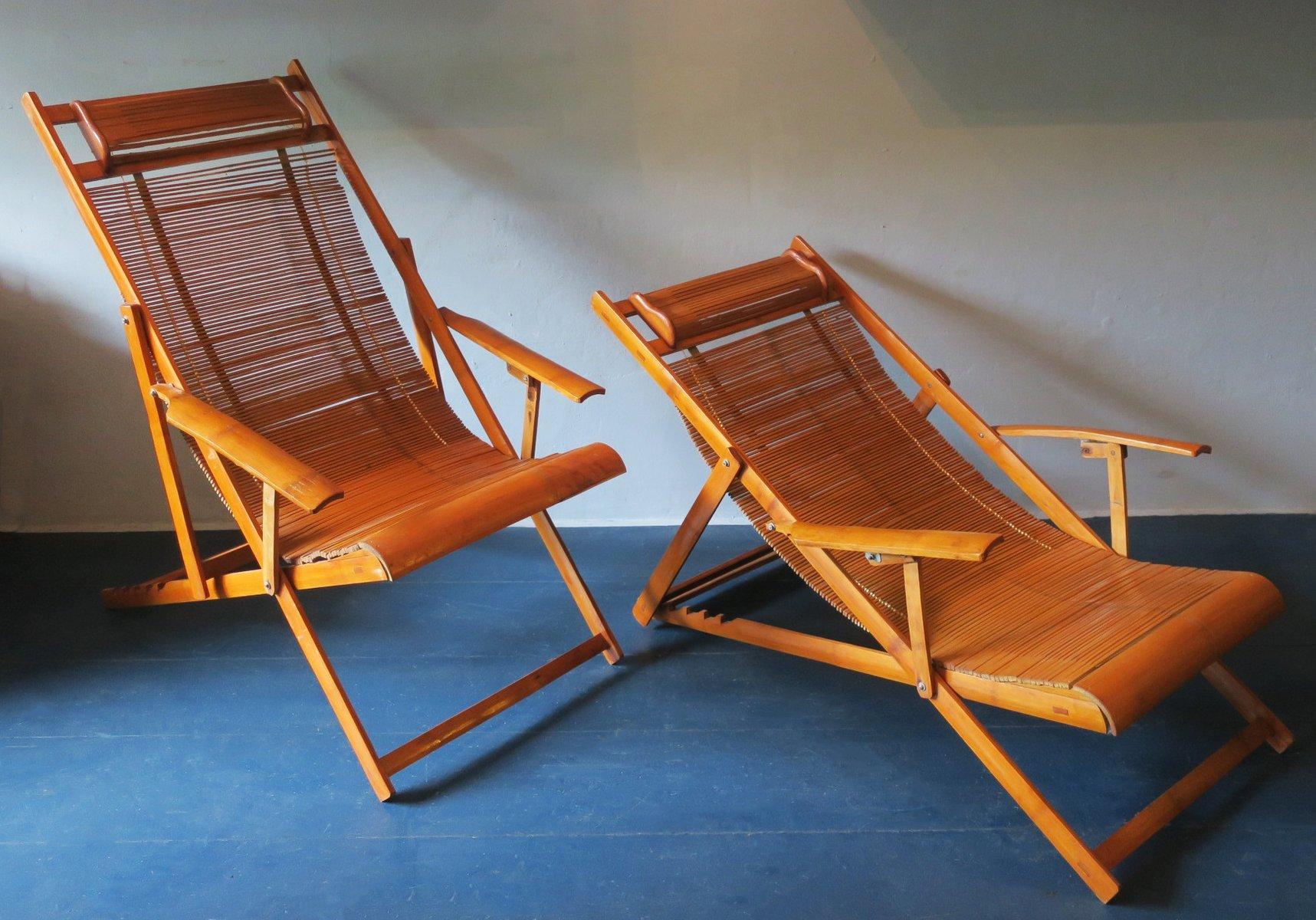 japanischer liegestuhl aus bambus 1950er 2er set bei pamono kaufen. Black Bedroom Furniture Sets. Home Design Ideas