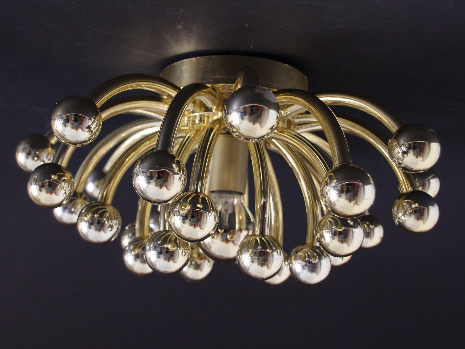 goldene pistillino wand oder deckenlampe von studio tetrarch f r valenti luce 1970er bei. Black Bedroom Furniture Sets. Home Design Ideas