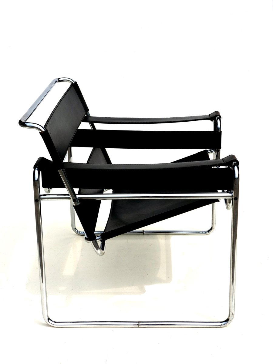 bauhaus black leather wassily chair by marcel breuer for gavina 1960s for sale at pamono. Black Bedroom Furniture Sets. Home Design Ideas