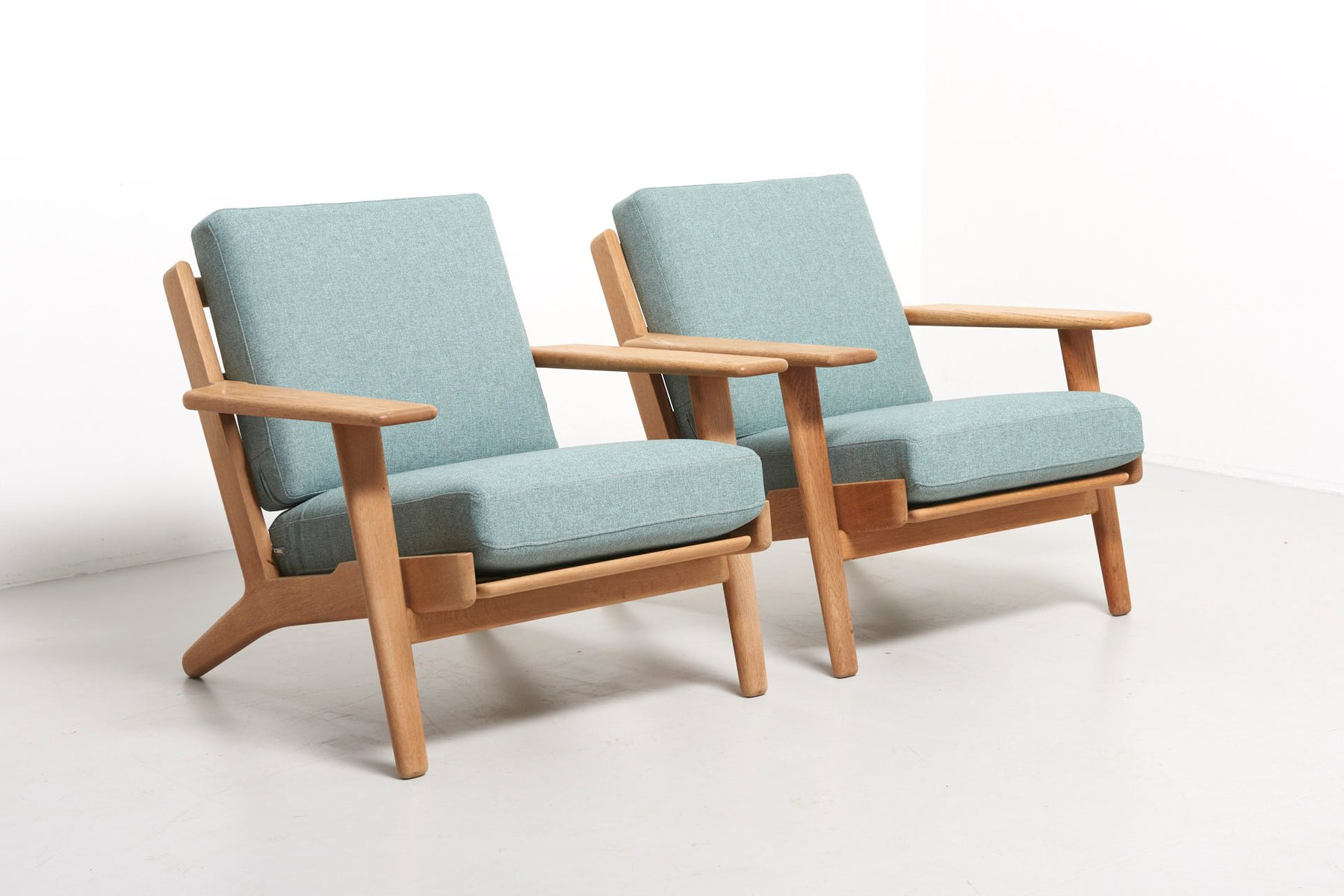 model ge 290 easy chairs by hans wegner for getama 1950s set of 2