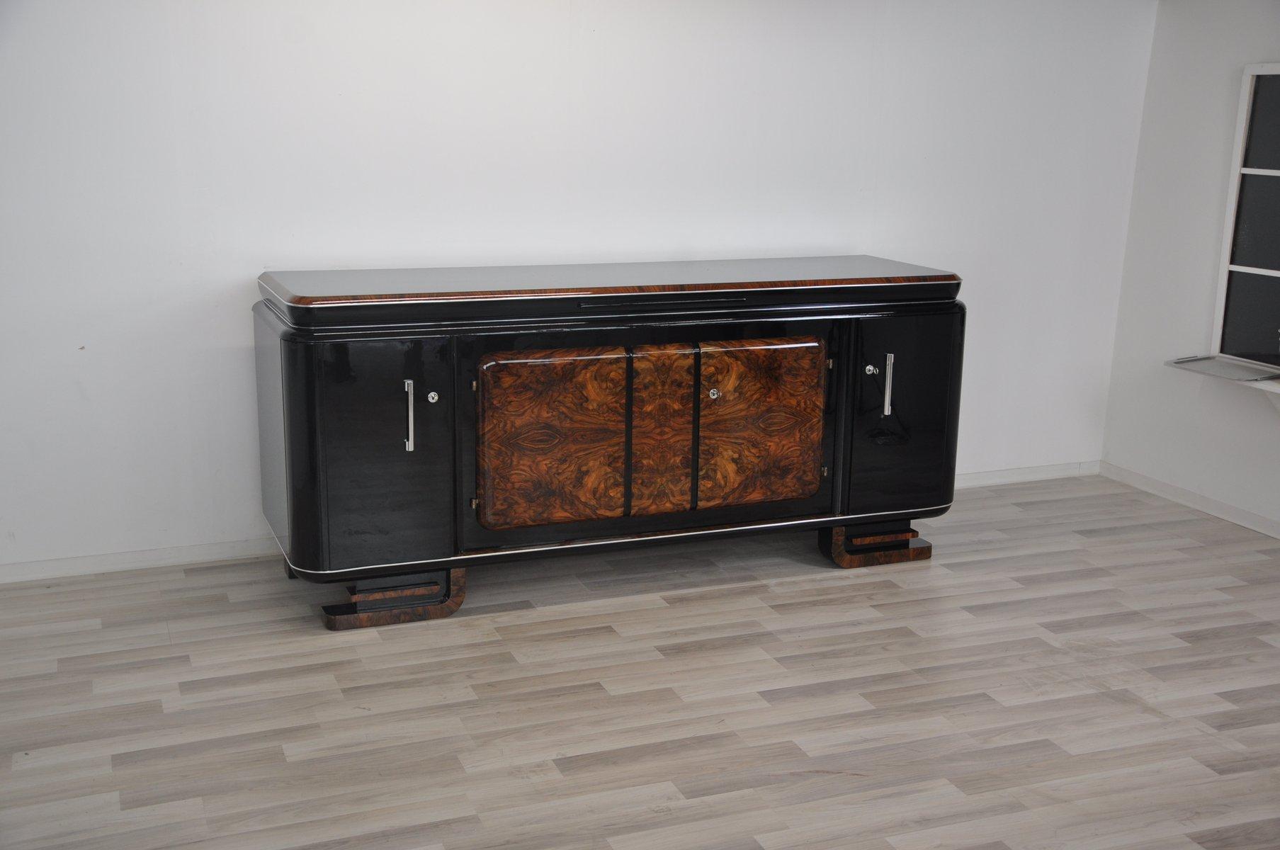 Großes Wurzelholz Sideboard, 1920er