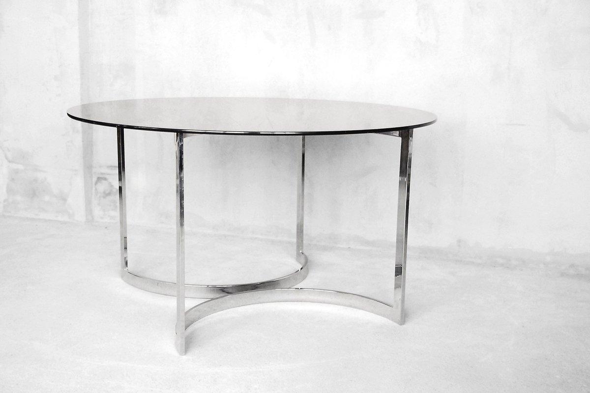 gro er runder esstisch aus glas von milo baughman 1970er. Black Bedroom Furniture Sets. Home Design Ideas